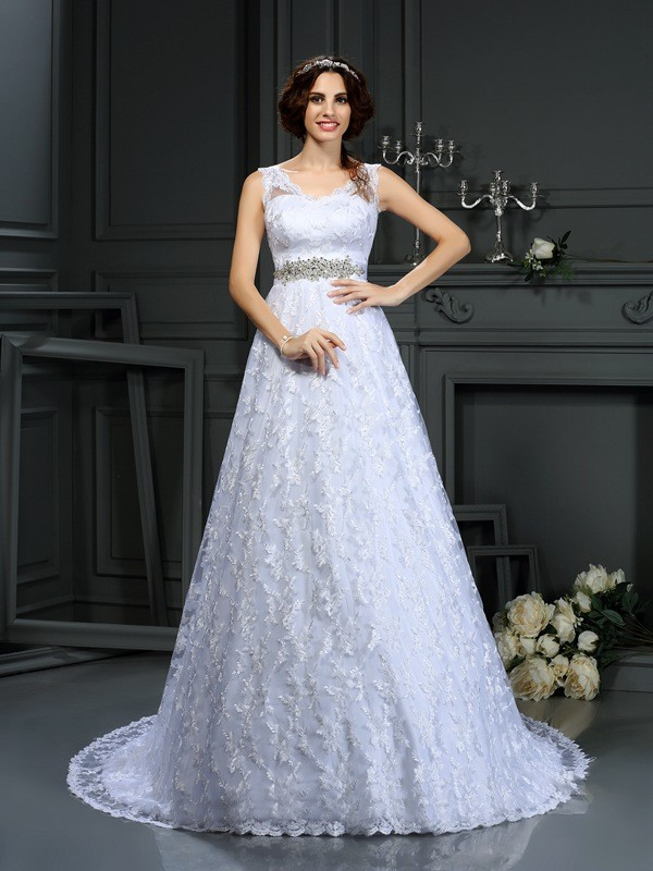 Court Train A-Line/Princess V-neck Sleeveless Lace Satin Wedding Dresses