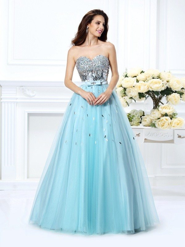 Floor-Length Ball Gown Sweetheart Sleeveless Beading Satin Dresses