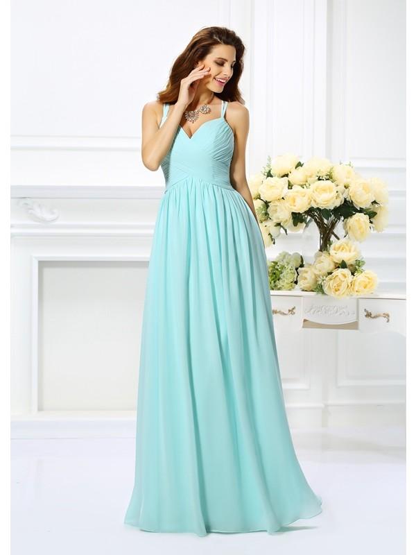Floor-Length A-Line/Princess Spaghetti Straps Sleeveless Pleats Chiffon Dresses