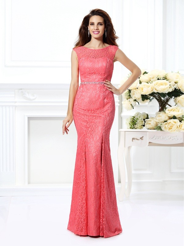 Floor-Length Trumpet/Mermaid Bateau Sleeveless Beading Lace Dresses