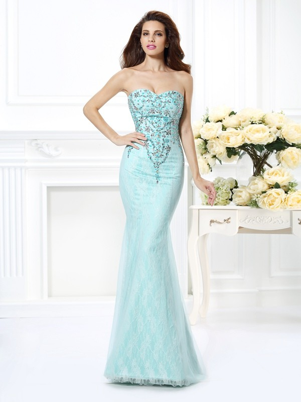 Floor-Length Trumpet/Mermaid Sweetheart Sleeveless Beading Net Dresses