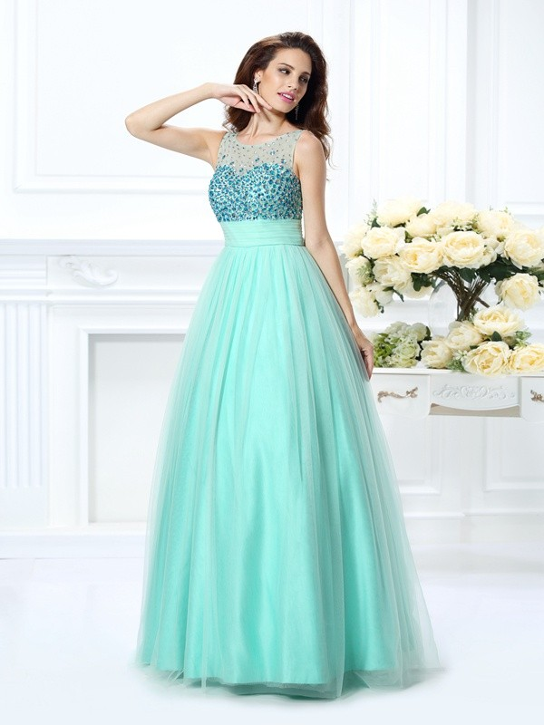 Floor-Length Ball Gown Bateau Sleeveless Beading Chiffon Dresses