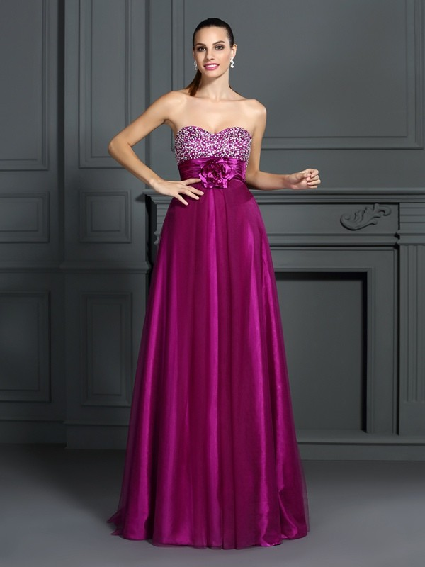 Floor-Length A-Line/Princess Sweetheart Sleeveless Hand-Made Flower Elastic Woven Satin Dresses