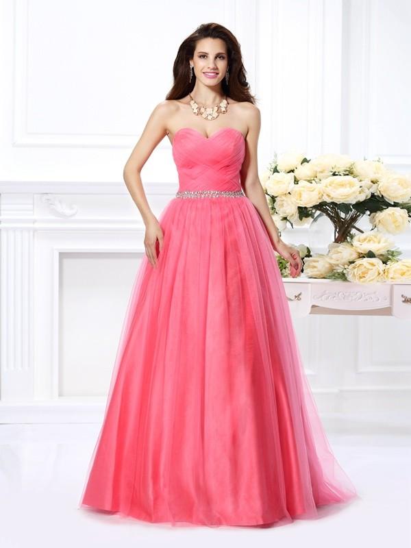 Floor-Length Ball Gown Sweetheart Sleeveless Beading Satin Dresses