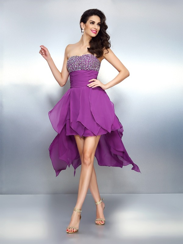 Asymmetrical A-Line/Princess Strapless Sleeveless Beading Chiffon Dresses