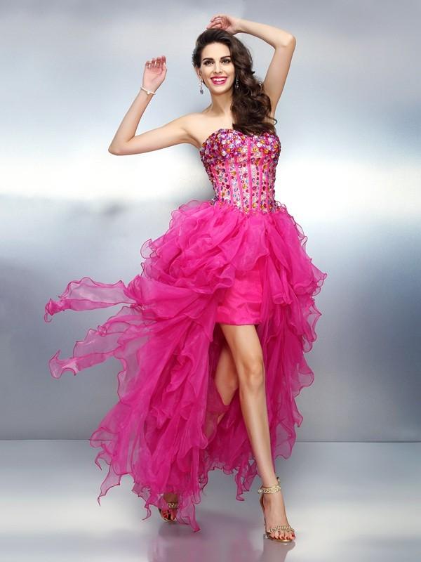 Asymmetrical A-Line/Princess Sweetheart Sleeveless Rhinestone Organza Dresses