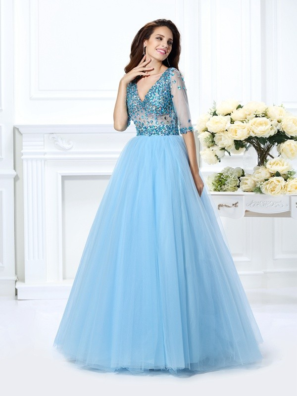 Floor-Length Ball Gown V-neck 1/2 Sleeves Beading Satin Dresses