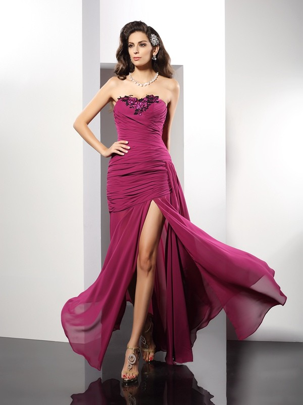 Floor-Length Sheath/Column Strapless Sleeveless Beading Chiffon Dresses