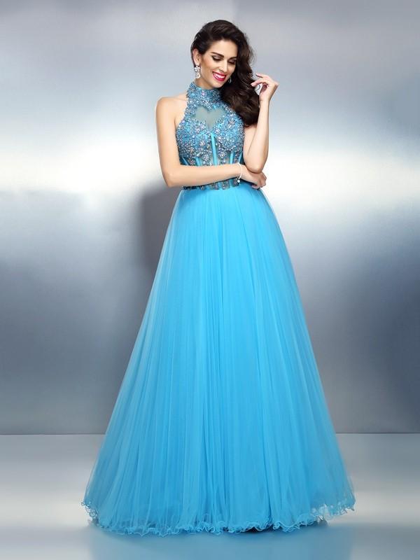 Floor-Length A-Line/Princess High Neck Sleeveless Beading Satin Dresses