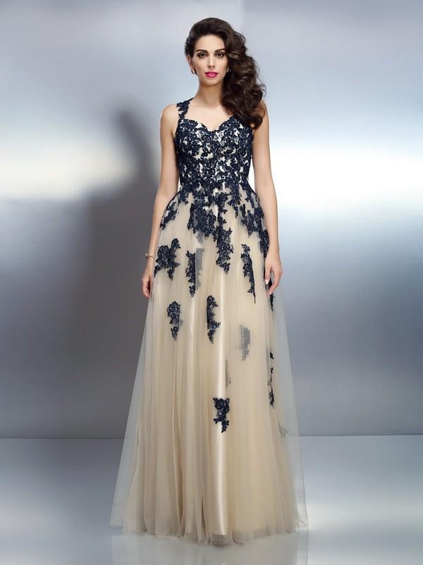 Floor-Length A-Line/Princess Straps Sleeveless Applique Elastic Woven Satin Dresses