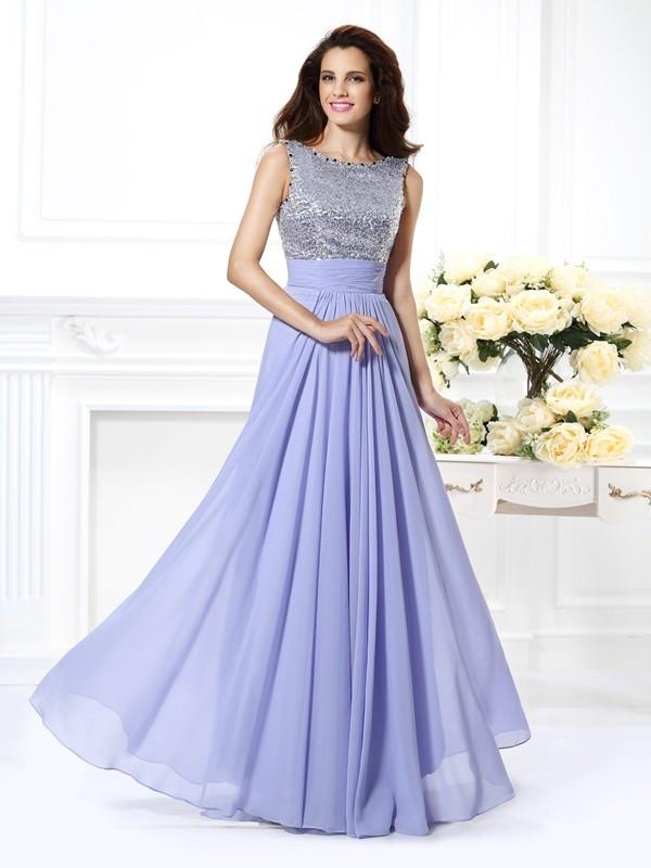 Floor-Length A-Line/Princess Bateau Sleeveless Paillette Chiffon Dresses