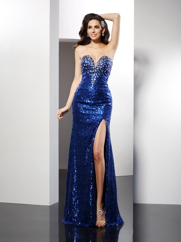 Floor-Length Sheath/Column Sweetheart Sleeveless Sequin Sequins Dresses