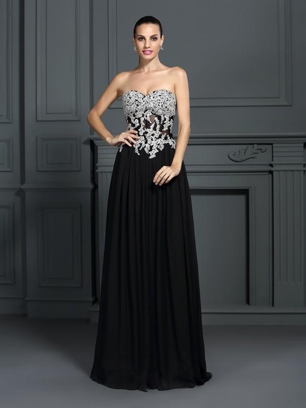 Floor-Length A-Line/Princess Sweetheart Sleeveless Applique Chiffon Dresses