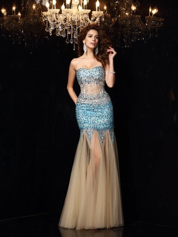 Floor-Length Sheath/Column Sweetheart Sleeveless Beading Net Dresses