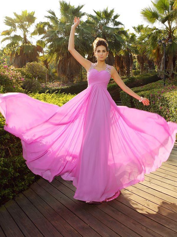 Sweep/Brush Train A-Line/Princess Straps Sleeveless Applique Chiffon Dresses