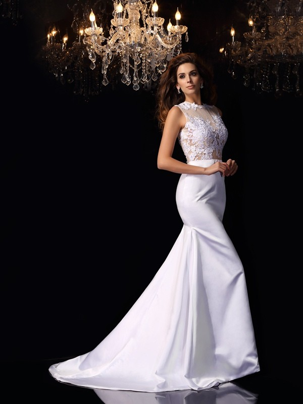 Chapel Train Trumpet/Mermaid High Neck Sleeveless Applique Satin Wedding Dresses