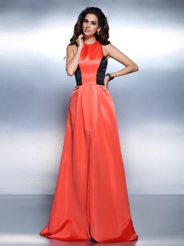 Floor-Length A-Line/Princess High Neck Sleeveless Other Satin Dresses