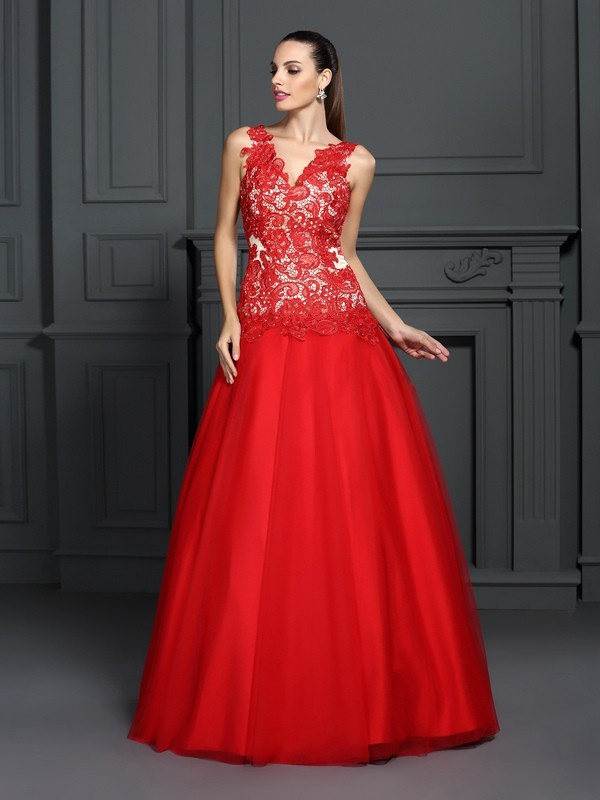 Floor-Length Ball Gown V-neck Sleeveless Lace Lace Dresses
