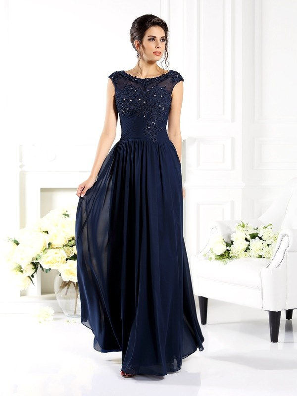 Floor-Length A-Line/Princess Scoop Sleeveless Beading Chiffon Mother of the Bride Dresses