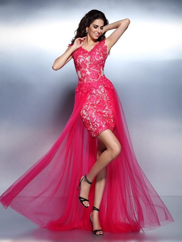 Sweep/Brush Train A-Line/Princess V-neck Sleeveless Lace Lace Dresses