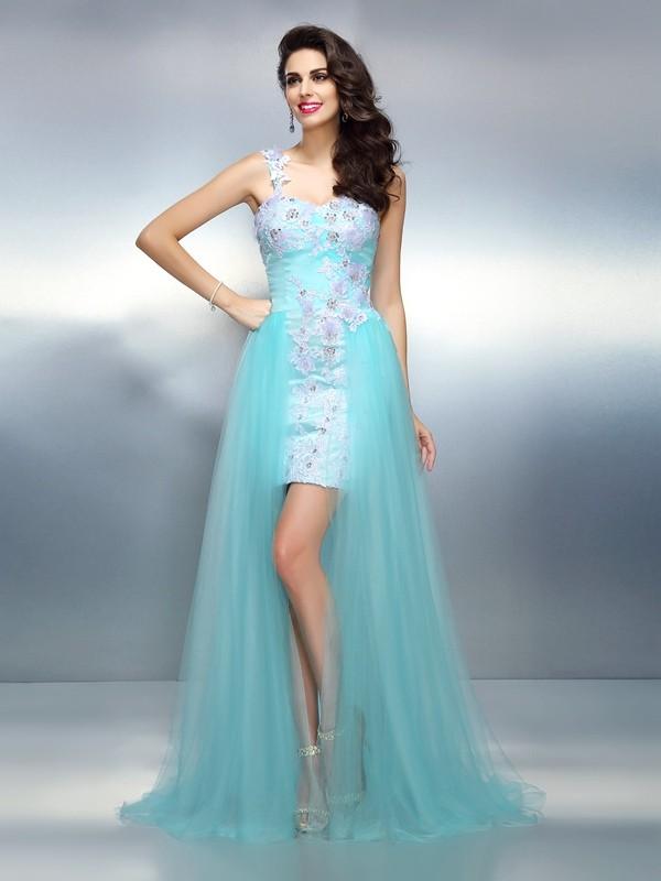 Sweep/Brush Train Sheath/Column One-Shoulder Sleeveless Applique Elastic Woven Satin Dresses