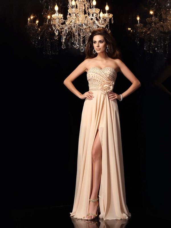 Floor-Length A-Line/Princess Sweetheart Sleeveless Hand-Made Flower Chiffon Dresses