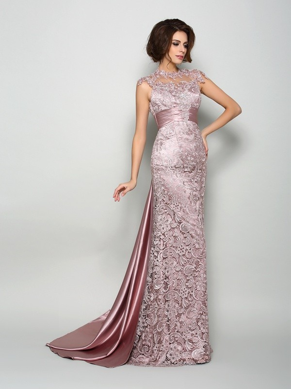 Court Train A-Line/Princess High Neck Sleeveless Other Elastic Woven Satin Mother of the Bride Dresses