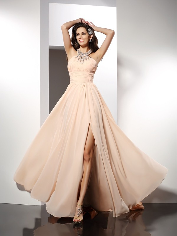 Sweep/Brush Train A-Line/Princess Jewel Sleeveless Ruffles Chiffon Dresses