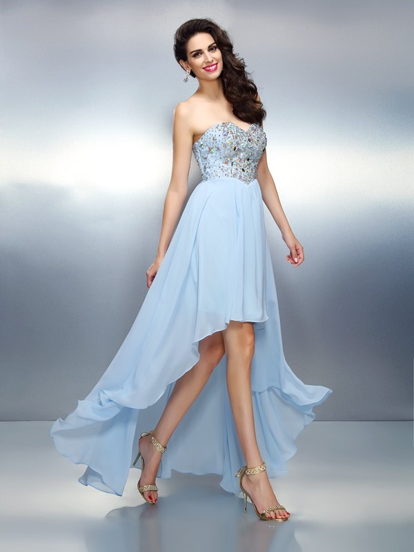 Asymmetrical A-Line/Princess Sweetheart Sleeveless Ruffles Chiffon Dresses