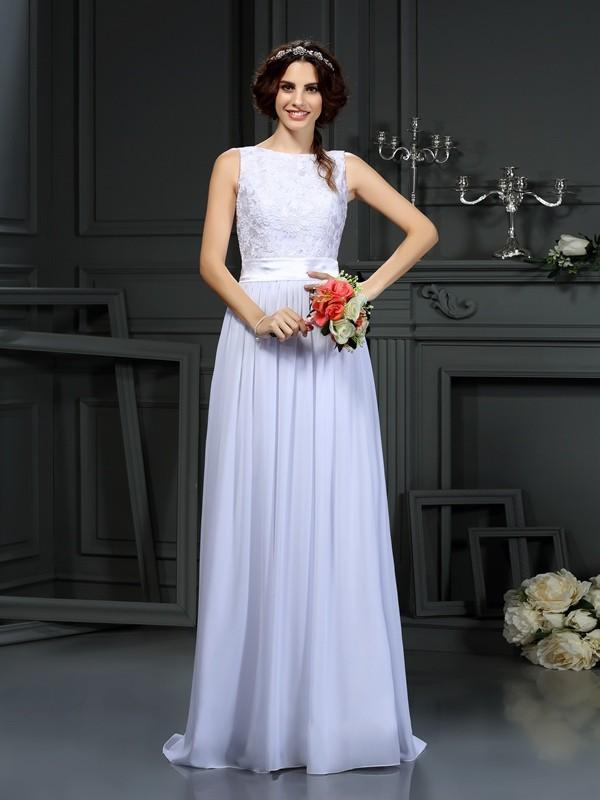 Floor-Length A-Line/Princess Scoop Sleeveless Lace Chiffon Wedding Dresses