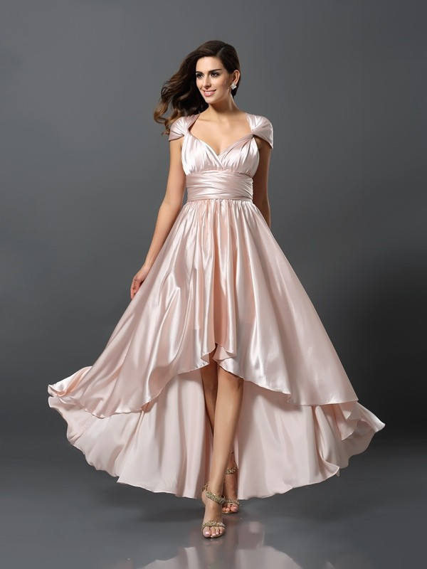 Asymmetrical Sheath/Column Other Sleeveless Other Silk like Satin Bridesmaid Dresses