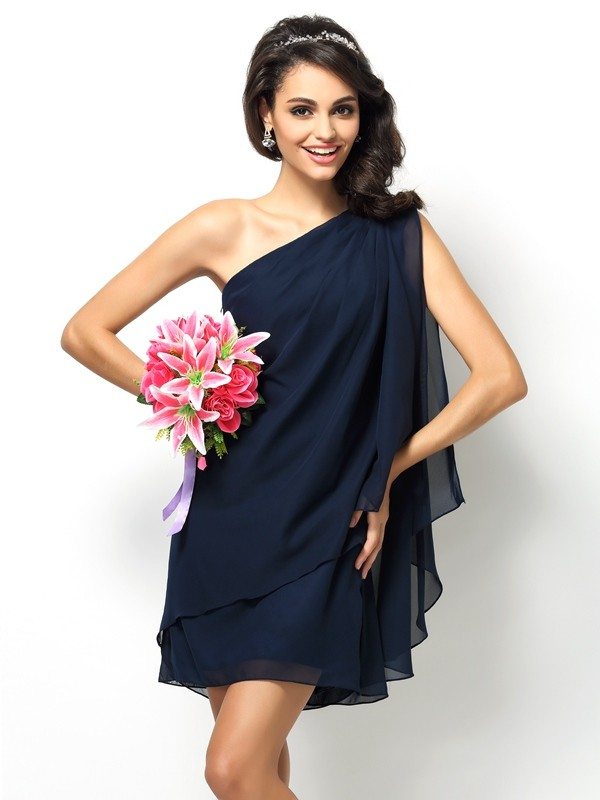 Short/Mini A-Line/Princess One-Shoulder Sleeveless Other Chiffon Bridesmaid Dresses