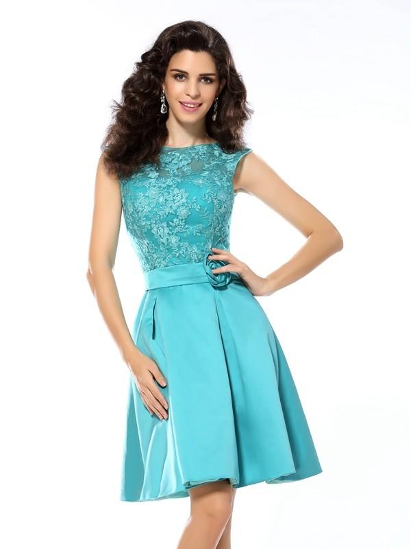 Knee-Length A-Line/Princess Scoop Sleeveless Applique Satin Dresses