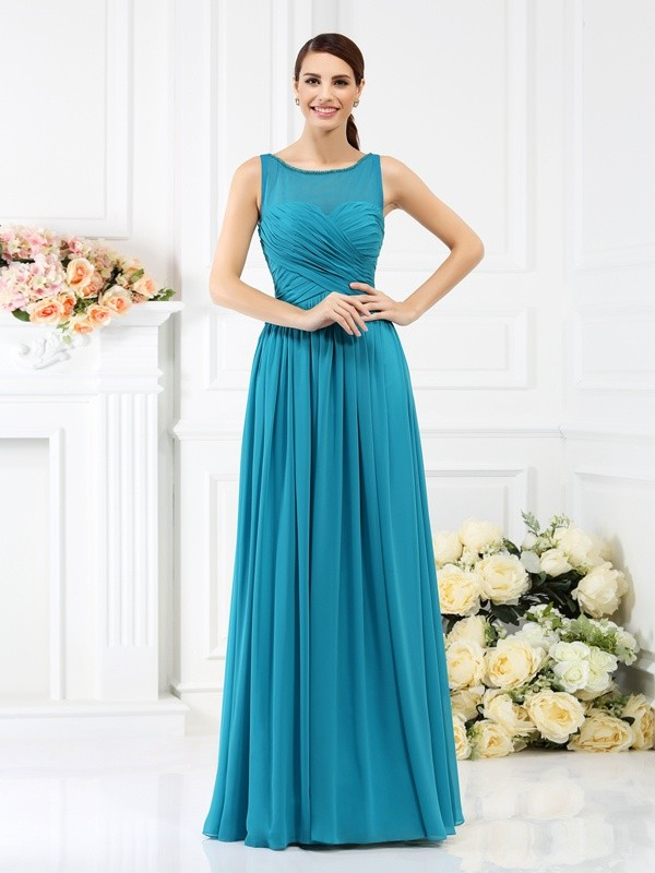Floor-Length A-Line/Princess Bateau Sleeveless Pleats Chiffon Bridesmaid Dresses