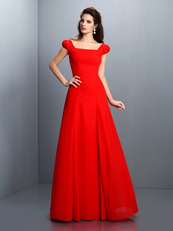 Floor-Length A-Line/Princess Bateau Short Sleeves Other Satin Dresses
