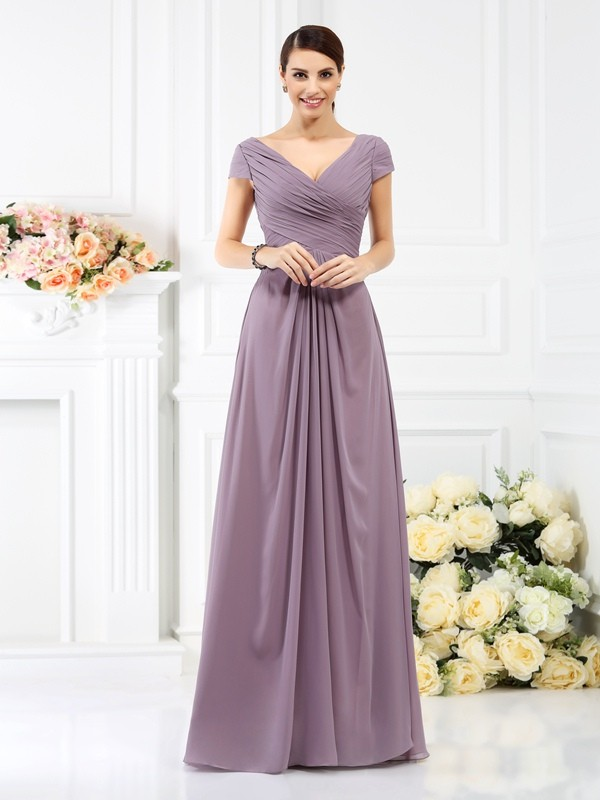Floor-Length A-Line/Princess V-neck Short Sleeves Pleats Chiffon Bridesmaid Dresses