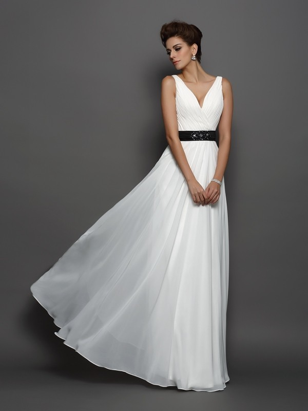Floor-Length A-Line/Princess V-neck Sleeveless Sash/Ribbon/Belt Chiffon Wedding Dresses