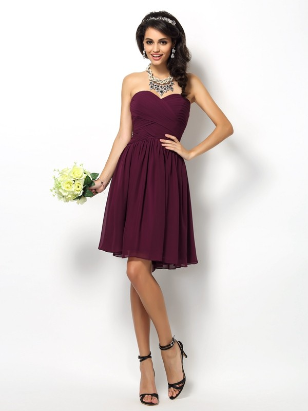 Short/Mini A-Line/Princess Sweetheart Sleeveless Pleats Chiffon Bridesmaid Dresses