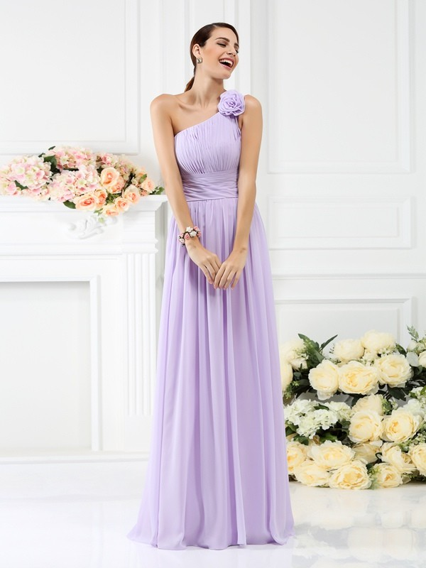 Floor-Length A-Line/Princess One-Shoulder Sleeveless Hand-Made Flower Chiffon Bridesmaid Dresses