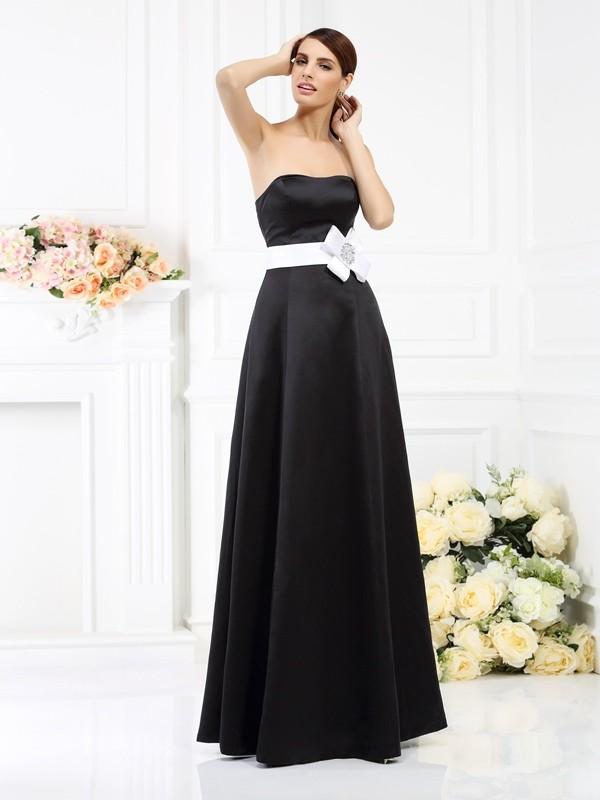 2991c395275 Floor-Length A-Line Princess Strapless Sleeveless Sash Ribbon Belt Satin  Bridesmaid Dresses