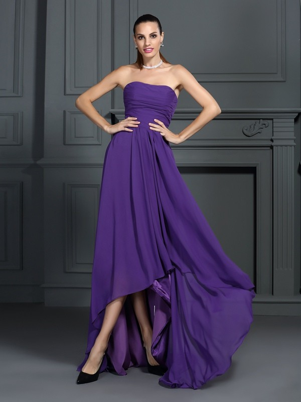 Asymmetrical A-Line/Princess Strapless Sleeveless Pleats Chiffon Dresses