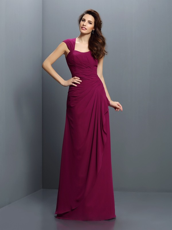 Floor-Length A-Line/Princess Straps Sleeveless Pleats Chiffon Bridesmaid Dresses
