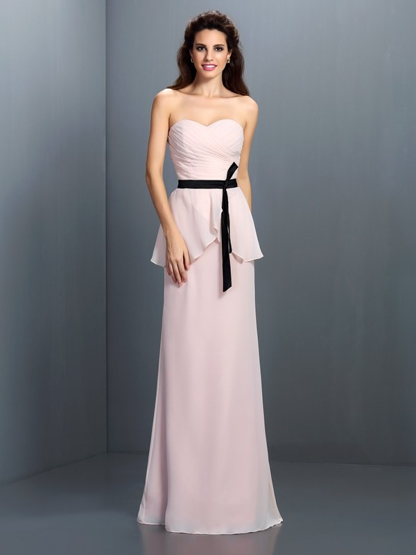 c274d458358 Floor-Length Sheath Column Sweetheart Sleeveless Sash Ribbon Belt Chiffon Bridesmaid  Dresses