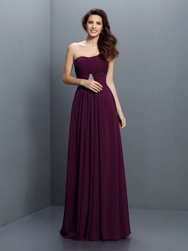 Floor-Length A-Line/Princess Strapless Sleeveless Pleats Chiffon Bridesmaid Dresses