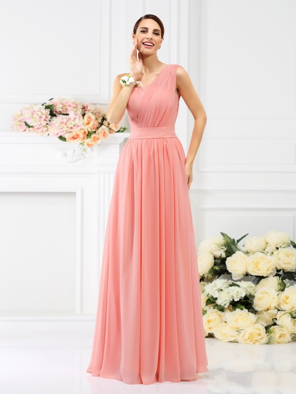 Floor-Length A-Line/Princess One-Shoulder Sleeveless Pleats Chiffon Bridesmaid Dresses