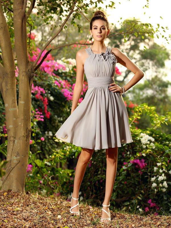 Knee-Length A-Line/Princess Scoop Sleeveless Hand-Made Flower Chiffon Bridesmaid Dresses