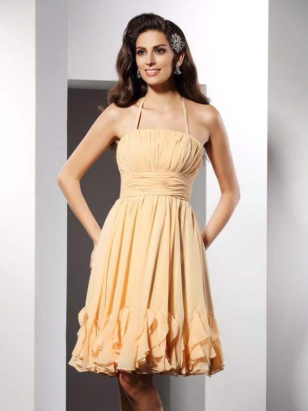 Knee-Length A-Line/Princess Halter Sleeveless Ruffles Chiffon Dresses