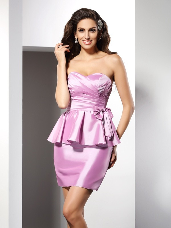 Short/Mini Sheath/Column Sweetheart Sleeveless Bowknot Taffeta Dresses