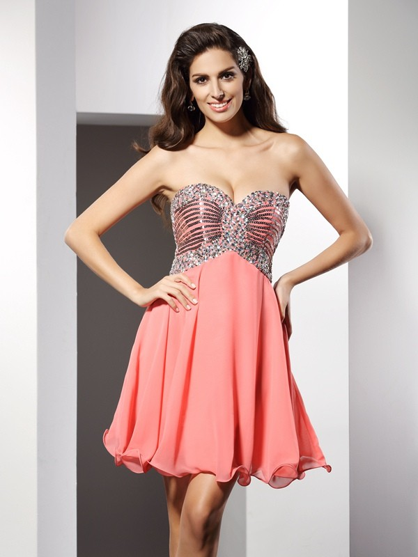 Short/Mini A-Line/Princess Sweetheart Sleeveless Beading Chiffon Dresses