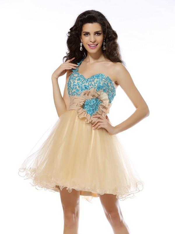 Short/Mini A-Line/Princess One-Shoulder Sleeveless Applique Net Dresses